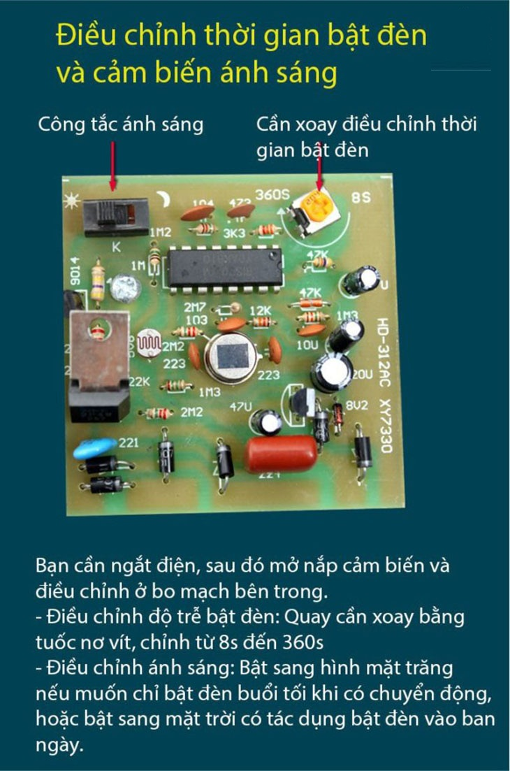 đui đèn cảm ứng thân nhiệt HD312-F22