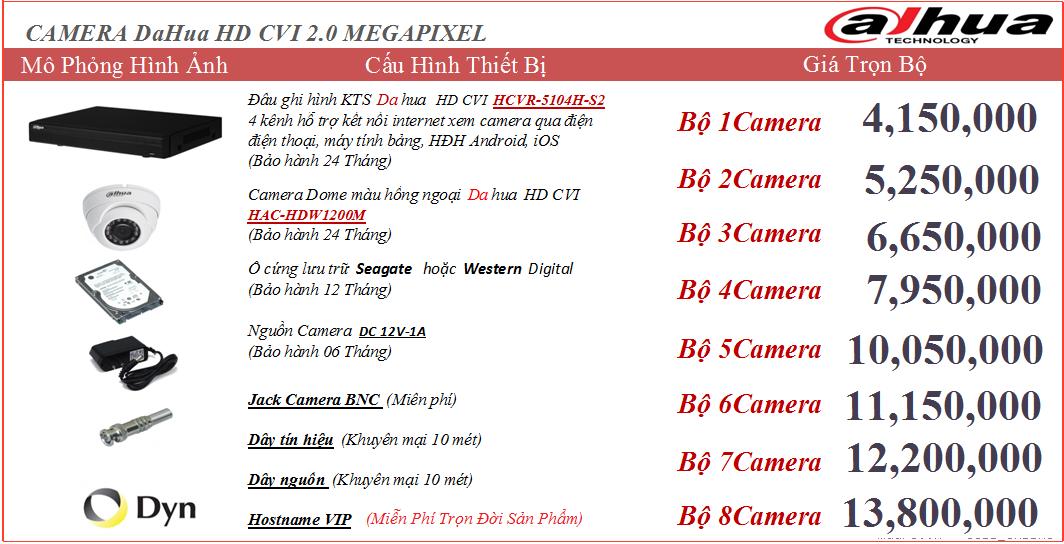 Chuyên thi công lắp đặt camera Dahua 2.0MP