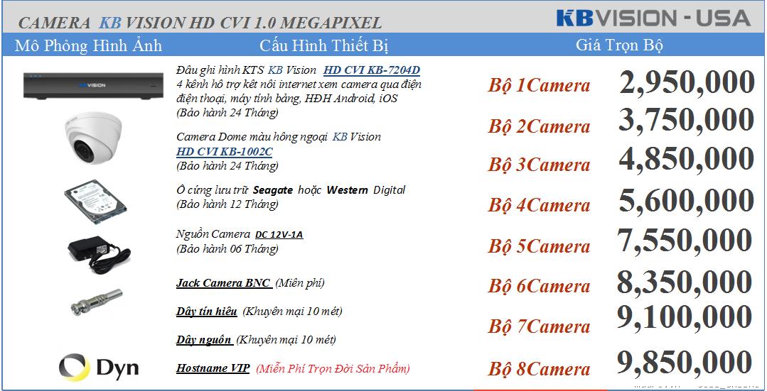 Việt Thiên Phát lắp đặt camera kbvision 2.950.000 vnđ