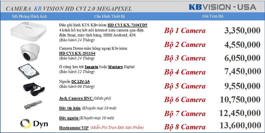 Phân phối Camera KBvision 3.350.000 vnđ