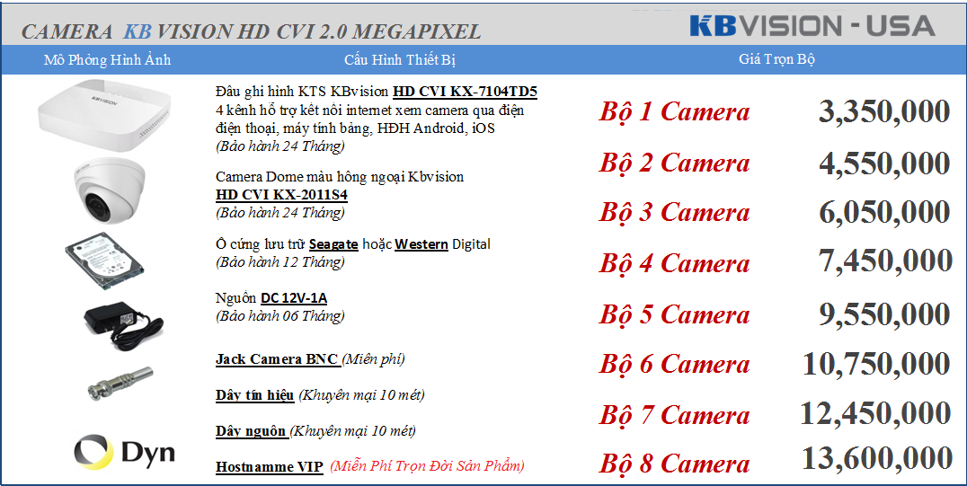 bán camera Kbvision 3.350.000 vnđ